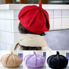 fb83b729125 2-6 Years Kids Beret Wool Cashmere Winter Girls Hat Cap Bonnet Enfant Solid Child s  Hat Black Purple Khaki Red Hats Caps Berets