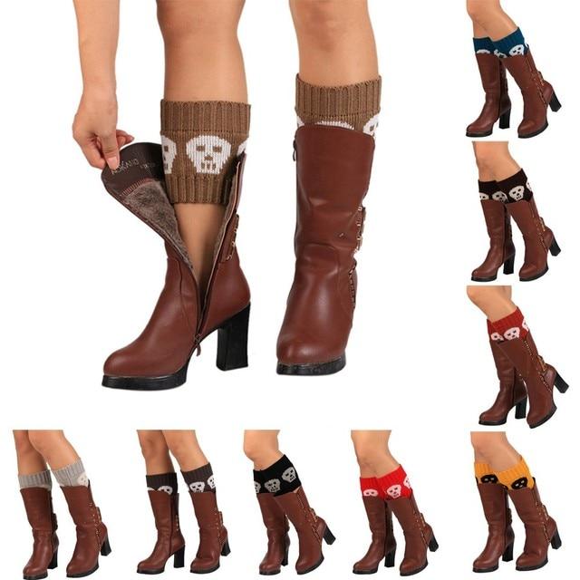 2017 mujeres caliente punto pierna Calcetines invierno otoño moda cráneos  crochet botas puños Calcetines Boot calentadores polainas corto ...