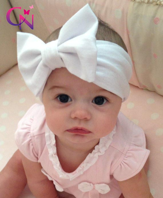 New Fashion Baby Solid Cotton Hair Bow Headband Toddler Handmade Stretch Headwraps With Bow Boutique Cute Hair Accessories