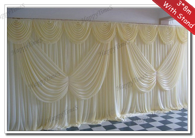 3*8m Weddingu0026Party Background Curtain Backdrop Drapes With Stand In  Stainless Steel Materials