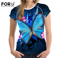 FORUDESIGNS Women Tops Short Sleeve T Shirts Butterfly Printed Female Cothes T Shirt 3D Painting Tshirt