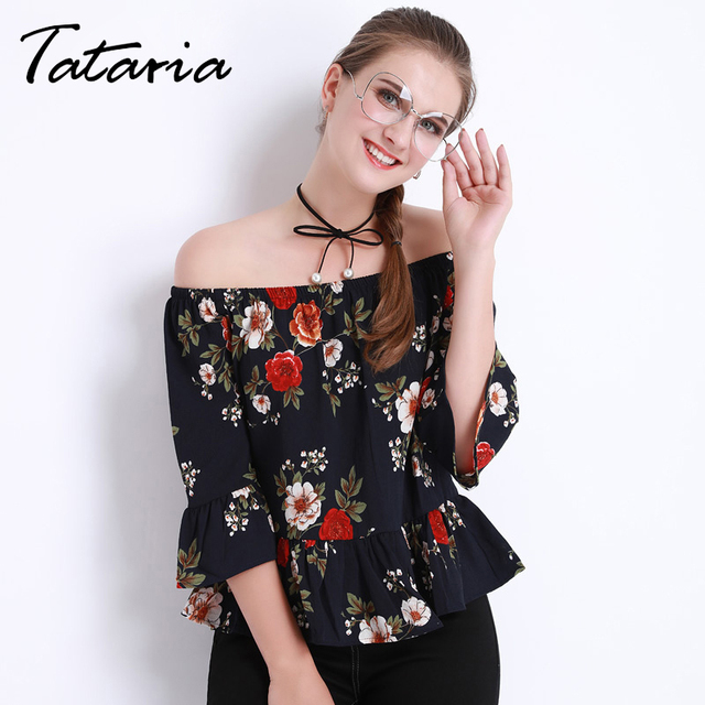 Women's Summer Blouses Off shoulder Tops Female White Chiffon Floral Print  Top Femme Ruffle Blouse And