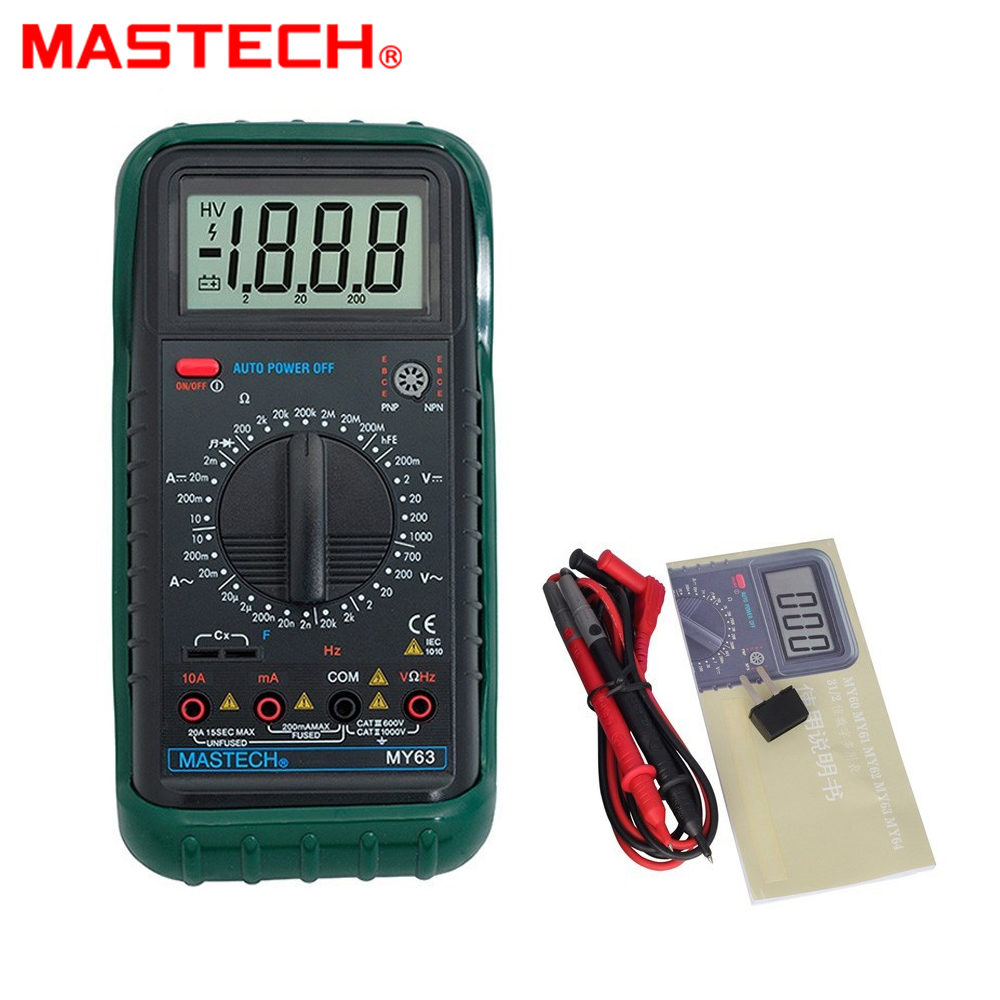 MASTECH MY63 2000 counts Digital Multimeter DMM w/ Temperature Capacitance & hFE Testers Meters Ammeter Megohmmeter new ms8221c digital multimeter auto manual ranging dmm temperature capacitance hfe tester