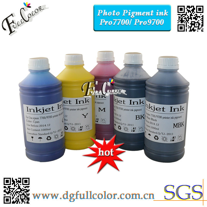 Free shipping 5 colors pigment ink for Epson 7700 printer ink (5 x 1000ml/bottle) free shipping ink buffer bottle for large format printer aprint polaris printer