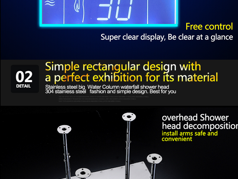 3Jets Intelligent Digital LCD Display Rain Shower Set Installed in Wall 20 SPA Mist Rainfall Thermostatic Touch Panel Shower (23)