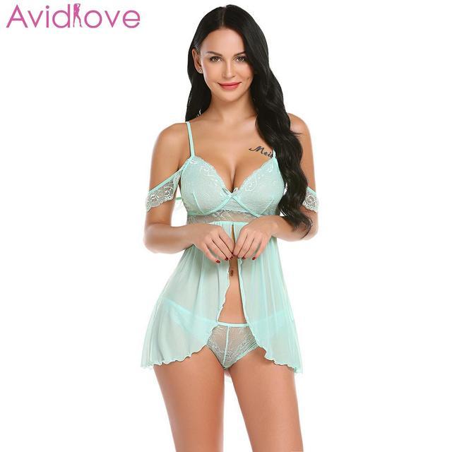 Avidlove Lace Sexy Lingerie for Women Baby Dolls Women Sexy Lace Langerie Mesh Sexy Nightwear Women's Underwear