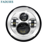 FADUIES Chrome 7 in. Daymaker Projector LED Headlamp Headlight For Harley Davidson FLS, FLSTC, FLSTF FLSTFB FLSTN Touring Trike
