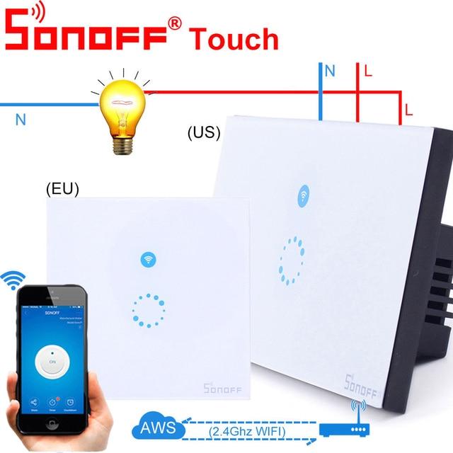 Itead Sonoff Touch/T1 UE Wifi pared Interruptor táctil 1 pandilla 1 manera Control remoto de luz inalámbrico de relé de Control App trabajo con Alexa de Google