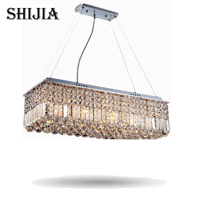 Long Size Rectangle Crystal Pendant Light Fitting Crystal Dining Light Suspension Lamp for Dining Room, Bedroom/Meeting Room a1 master bedroom living room lamp crystal pendant lights dining room lamp european style dual use fashion pendant lamps