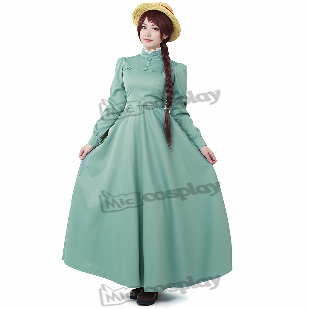 Anime Howls rörliga slott Sophie Cosplay Women Costume Long Dress