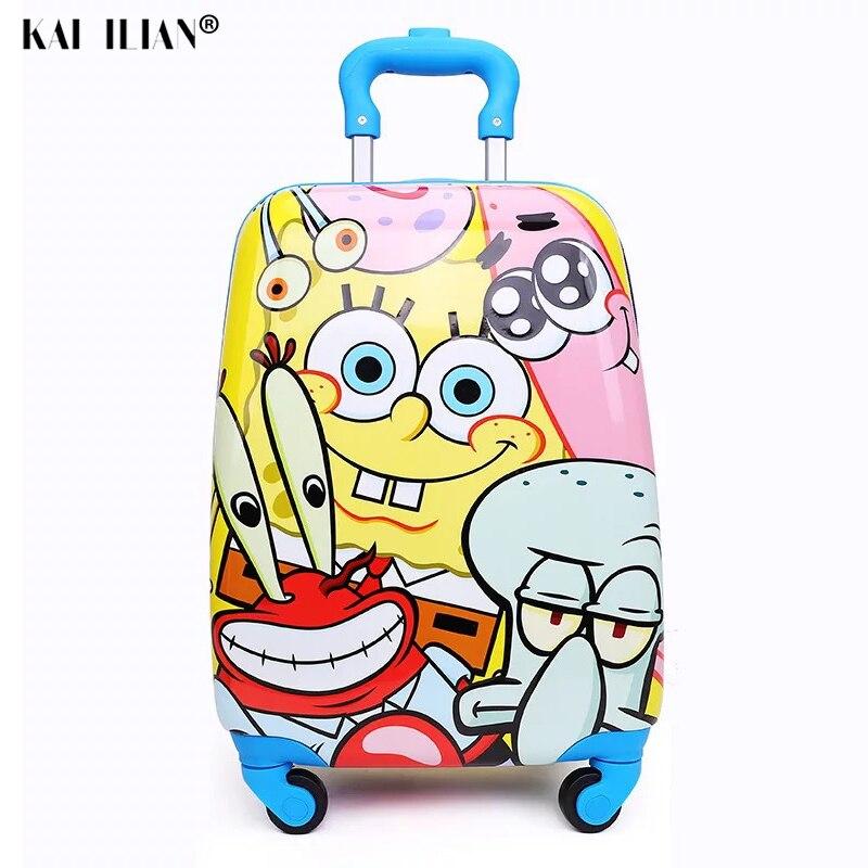 Trolley Suitcase Rolling-Luggage Wheels Carry-On-Bag Spongebob Girls Kid Travel Cartoon