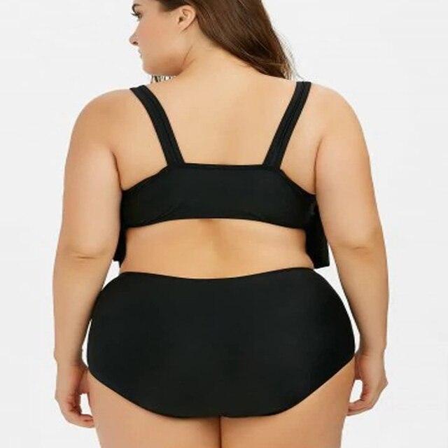 Swimsuit Plus Size With Ruffles Bikini Set Large Two Piece Swimwear Strap Push Up Monokini High Waist Swimming Suit For Womens 1