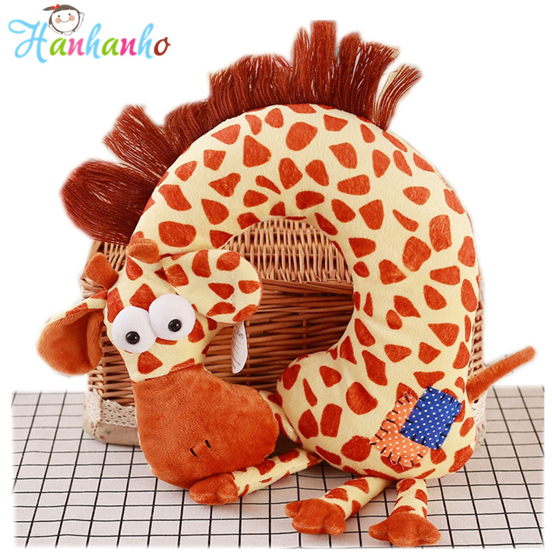 Creative Kids Travel Headrest Pillow Cartoon Animal U Shaped Neck Giraffe Cushion Plush Toy Kids Gift giraffe animal series many chew toy pet
