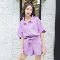 2018 Korea Women Turn down Collar Short Sleeve Denim Jumpsuit Summer Female Lace Up Bow Overalls Casual Romper