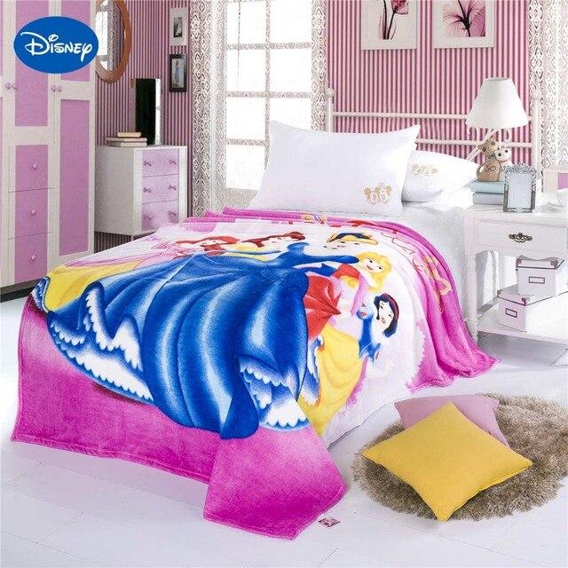 Disney Princess Printing Blankets 150200CM Size Girls Bed Home Decor Cartoon Characte Purple Blue