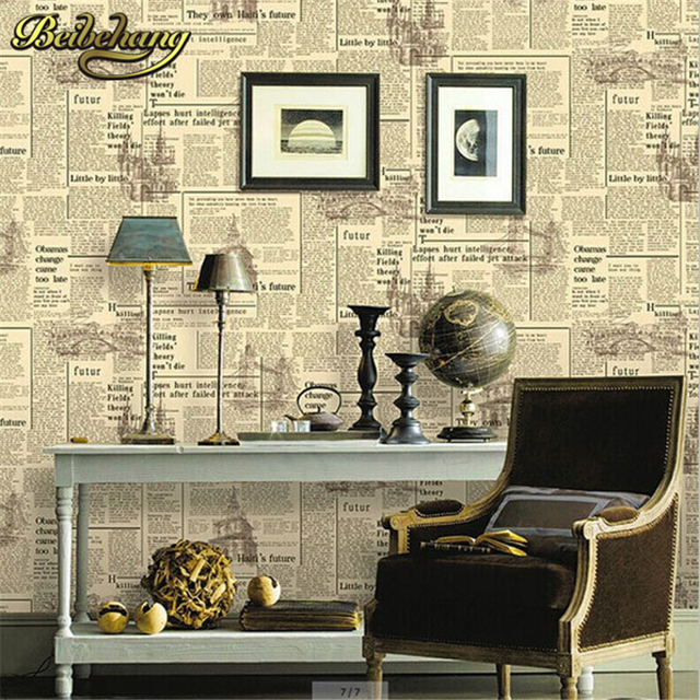 Beibehang Papel Parede 3D Zeitung Tapete Für Wand Bar Cafe Dekoration Wand  Papier Retro Englisch Buchstaben