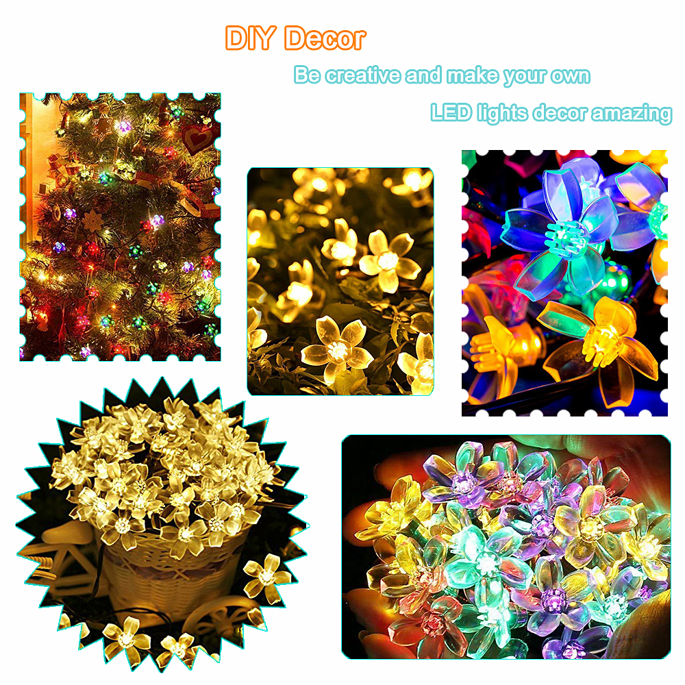 5m/7m/10m Solar Garland Flower Festoon Led Fairy Light USB String Lights Wedding Party Christmas Light Outdoor/Indoor Decoration