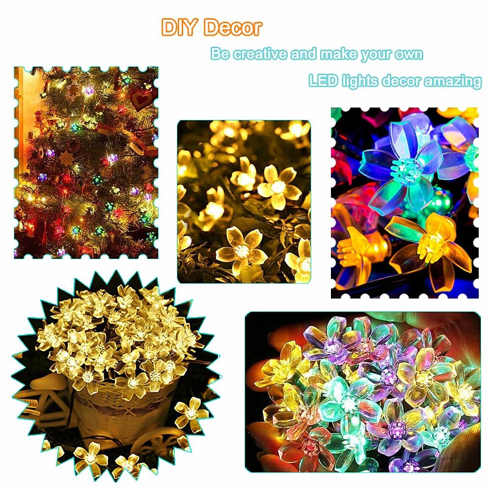 5m/7m/10m Solar Garland Flower Festoon Led Fairy Light USB String Lights Wedding Party Christmas Light Outdoor/Indoor Decoration