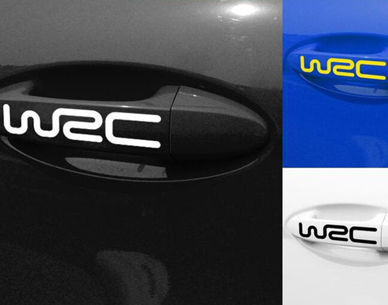4pcs body decoration stickers wrc door handle stickers hood paste for bmw benz audi toyota skoda vw ford focus car styling car styling racing sticker body waist car stickers door side scratches decorative decals for ford vw bmw toyota audi honda mazda