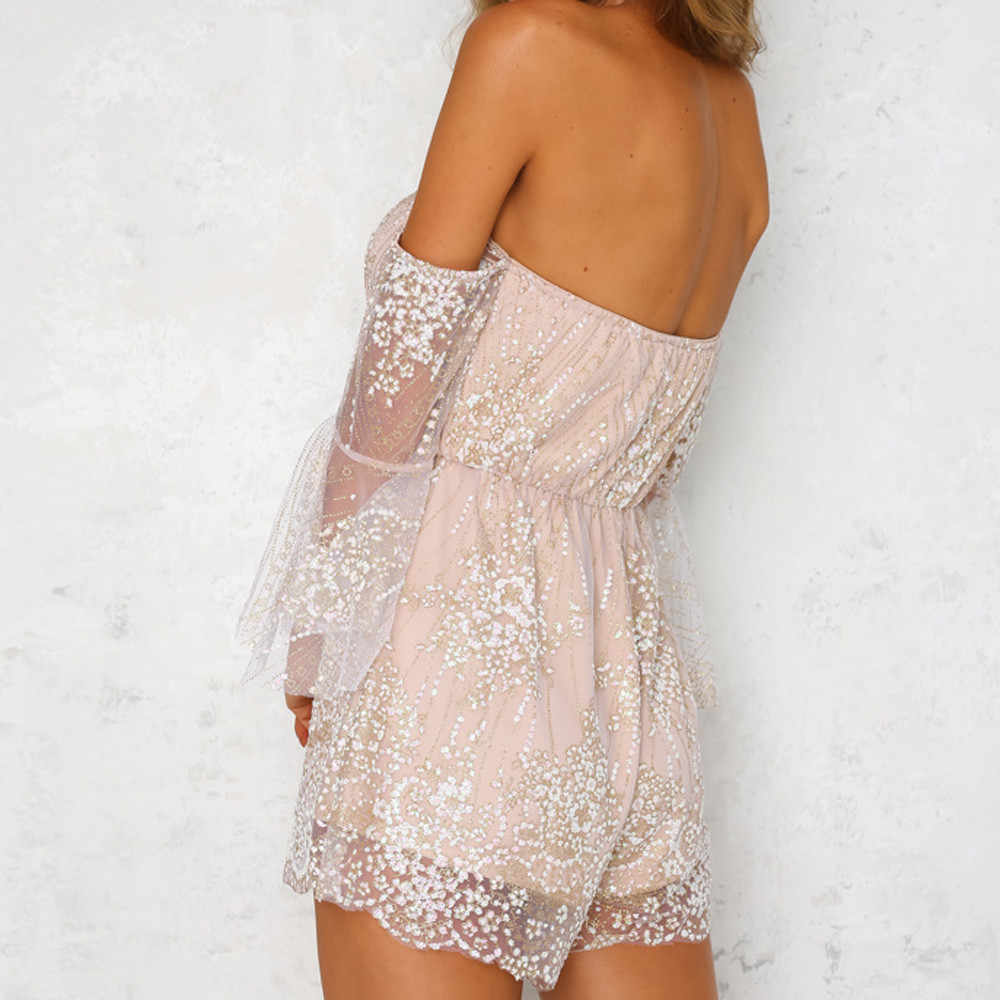 Summer V-Neck ladies tight Rompers 2019 new female beach tassel sequins fashion casual sexy lace overall boho vest Cami jurkjes
