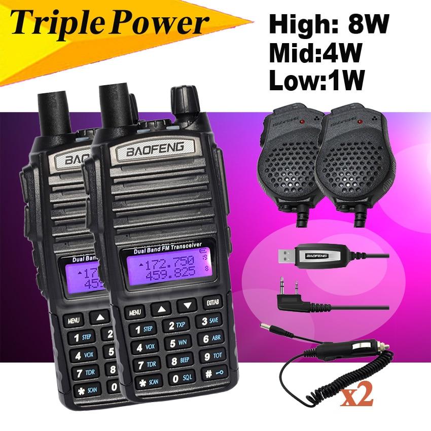 bilder für BAOFENG 2 STÜCKE UV-5R 8 watt UV-82HX Dual PTT UHF VHF Radio Walkie-talkie, Schwester Schinken CB Radio Baofeng UV-82 Plus UV-8D UV-5RA GT-3TP