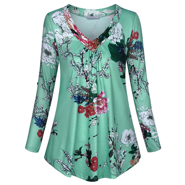 Blouse 5xl Plus Size Women Tunic Shirt Autumn Long Sleeve Floral Print V-neck Blouses And Tops With Button Big Size Clothing #11 3