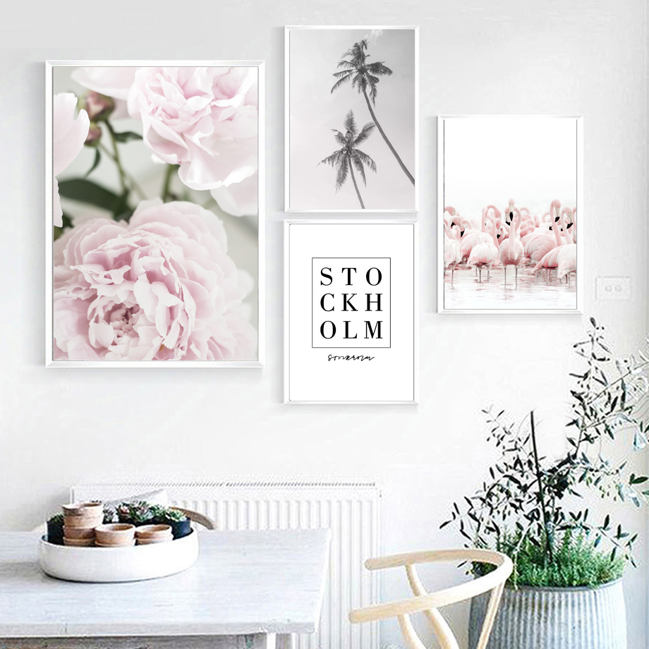 Flower Flamingo Coconut Tree Quotes Wall Art Canvas Painting Nordic Posters And Prints Wall Pictures For Lving Room Home Decor in Painting Calligraphy from Home Garden