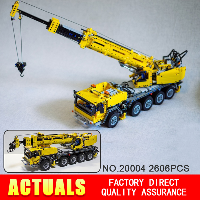 NEW 2606pcs font b LEPIN b font 20004 technic series Motor power mobile crane MK Model