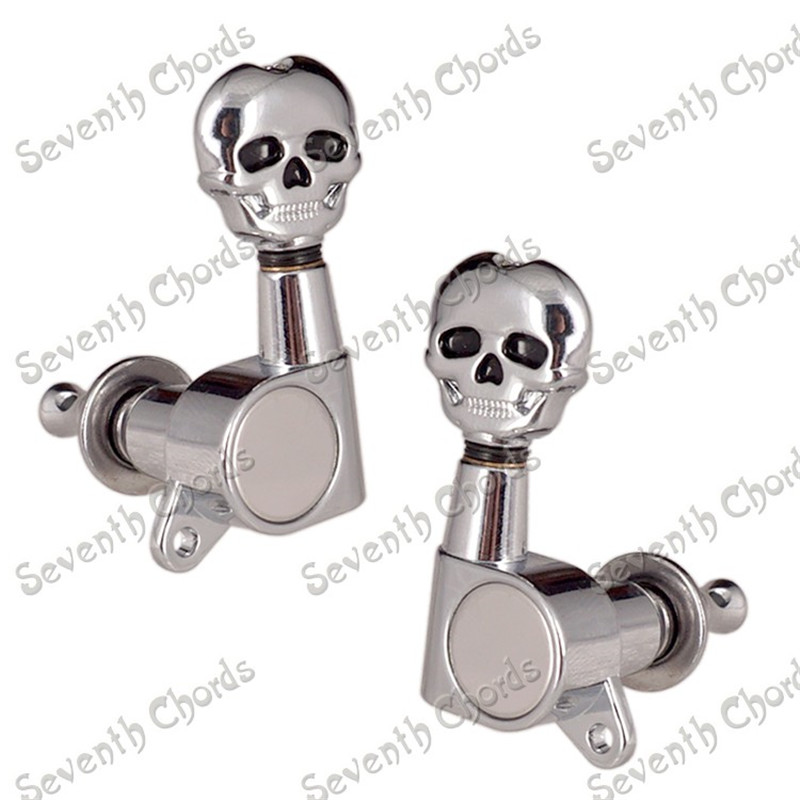 A Set Chrome Sealed gear Skull Acoustic Electric Guitar Tuning Pegs Machine Head a set of 6 pcs gold sealed gear string tuning peg tuner machine head for acoustic electric guitar