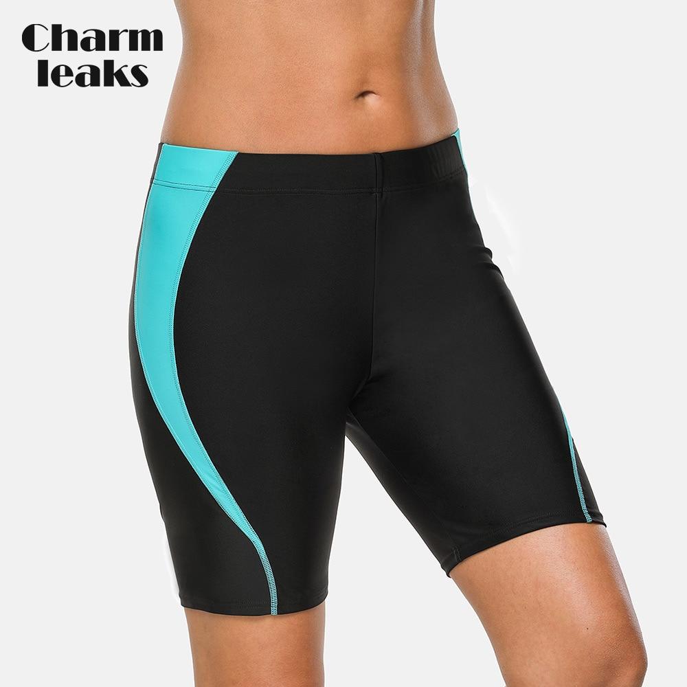 Charmleaks Women Sports Swimming Trunks Ladies Skinny Swim Shorts Boy Shorts Swimwear Briefs Slim Patchwork Bikini Bottom