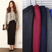 ELEXS женская зимняя Длинная шерстяная юбка, юбка-карандаш с эластичной талией, Женская офисная юбка, винтажная Женская Осенняя юбка E1123