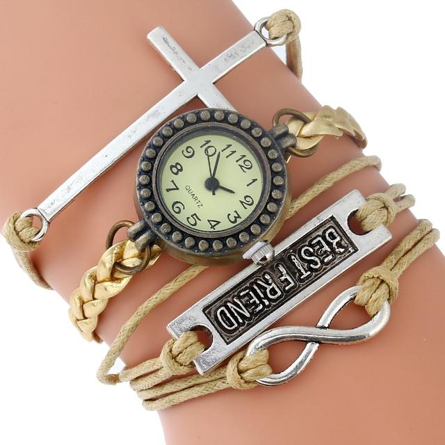 75acd3a20d0 Gnova Platina Cruz Cristã Pulseira Mulheres Relógio de Ouro Melhores Amigos  Paracord Shammy Do Vintage Da