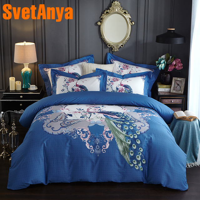 Delightful Svetanya Pima Cotton Bedding Set Peacock Printing Bedsheet Pillowcases And  Quilt Cover Sets Queen King Double
