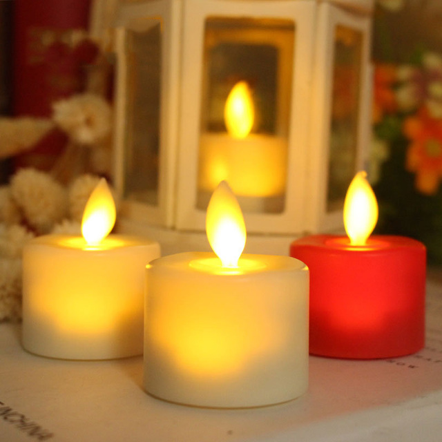 Pack of 6 Red Or White LED Tea Light Candles Household vela led Battery-Powered Flameless Candles Church Dancing Moving