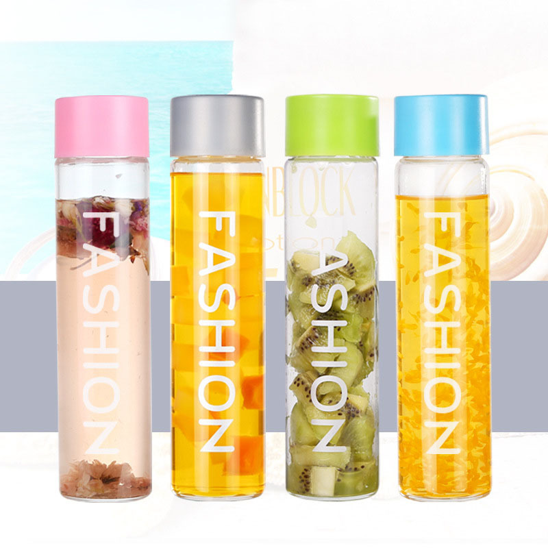 Multicolor Transparent Glass Drink Bottles Fashion Creative Men Women  Portable Car Sports Water Drinkwares Fruit Bottles Garrafa 4d220f70c814