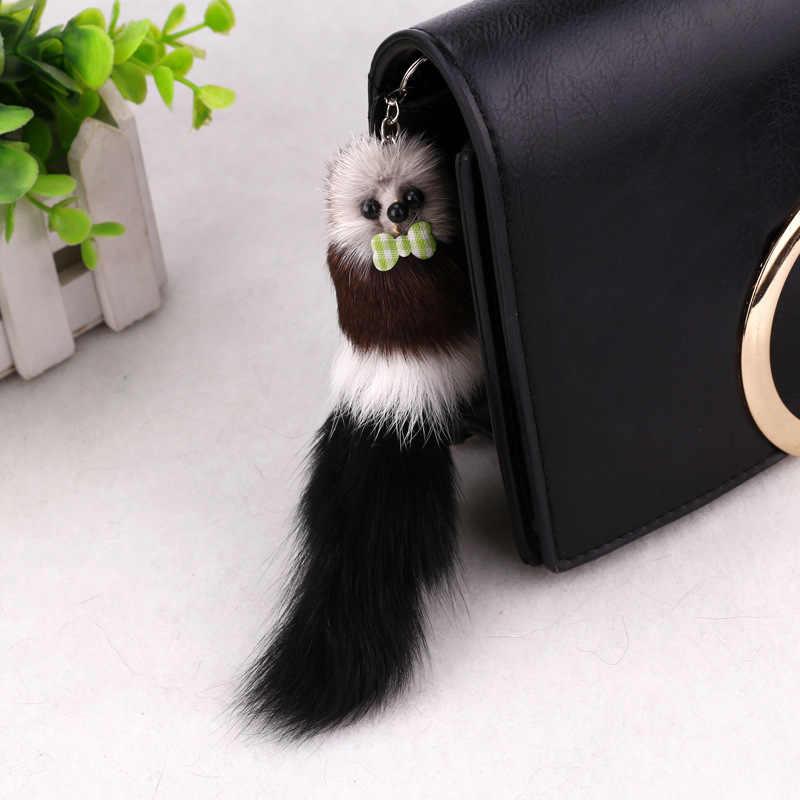 Novas Mulheres pom pom chave Pele cadeia Animal de Pelúcia Chave jóias chaveiro Moda Telefone rato pequeno Presente Titular K1253
