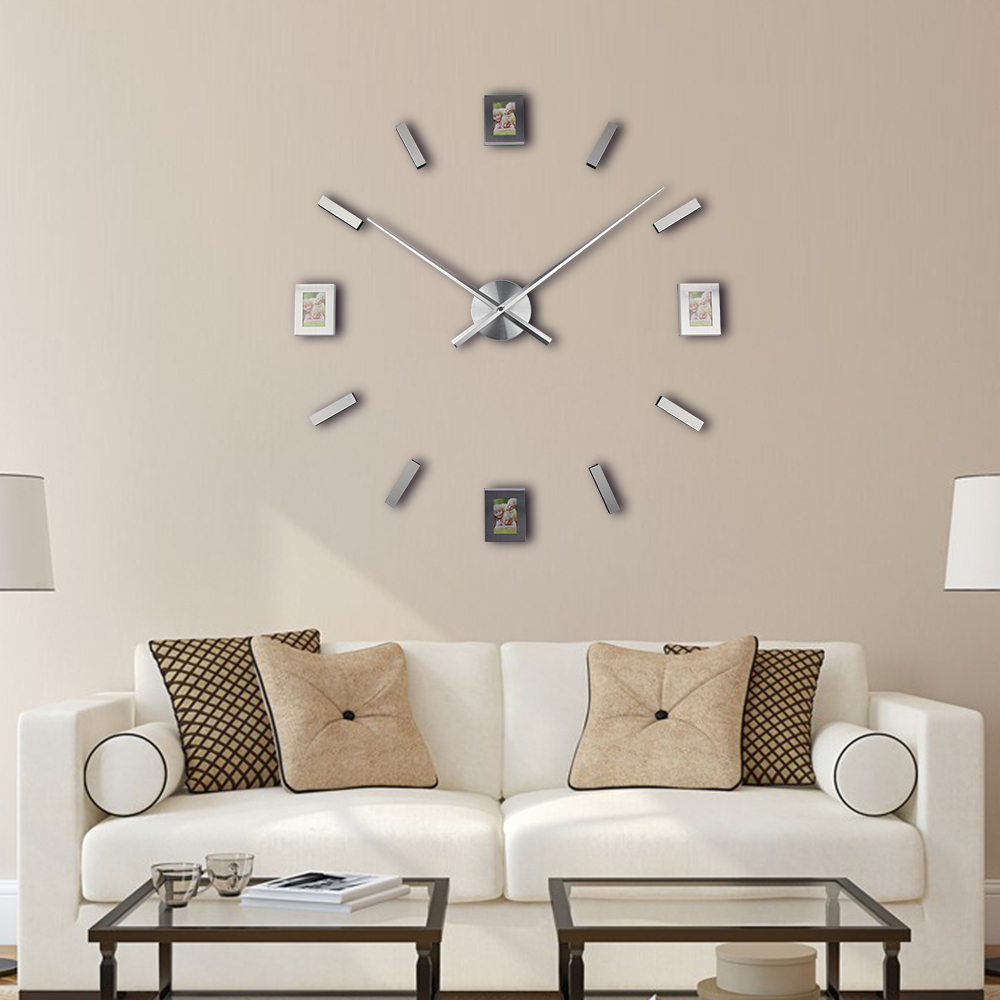 2017 new living room photo frame clock diy home decor 3d wall 2017 new living room photo frame clock diy home decor 3d wall sticker clock large quartz clock watch horloge in wall clocks from home garden on amipublicfo Gallery