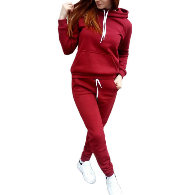 2020 Autumn Winter Two-piece Tracksuit Jogging Suits For Women Sport Suits Black Gray Hooded Running Set Sweat Pants Jogging Set 1
