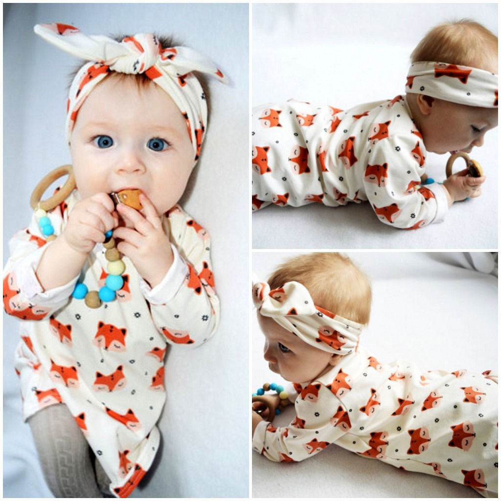 2017 Spring Newborn Baby Girl Clothes Long Sleeve Cotton Fox Dress Headband 2pcs Outfit Infant