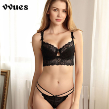 VVUES Sexy Lace Bralette Bras Set Fashion Delicate For Women B C Cup Underwire Lingerie Female Bow Brassiere