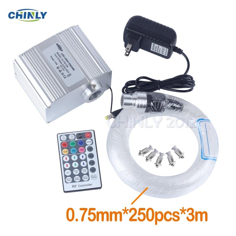CREE Chip 10W RGBW Twinkle 28Key RF Remote LED Fibre Optique Star Sky Ceiling Lights Kit 250pcs 0.75mm 3M Optical Fiber Cable