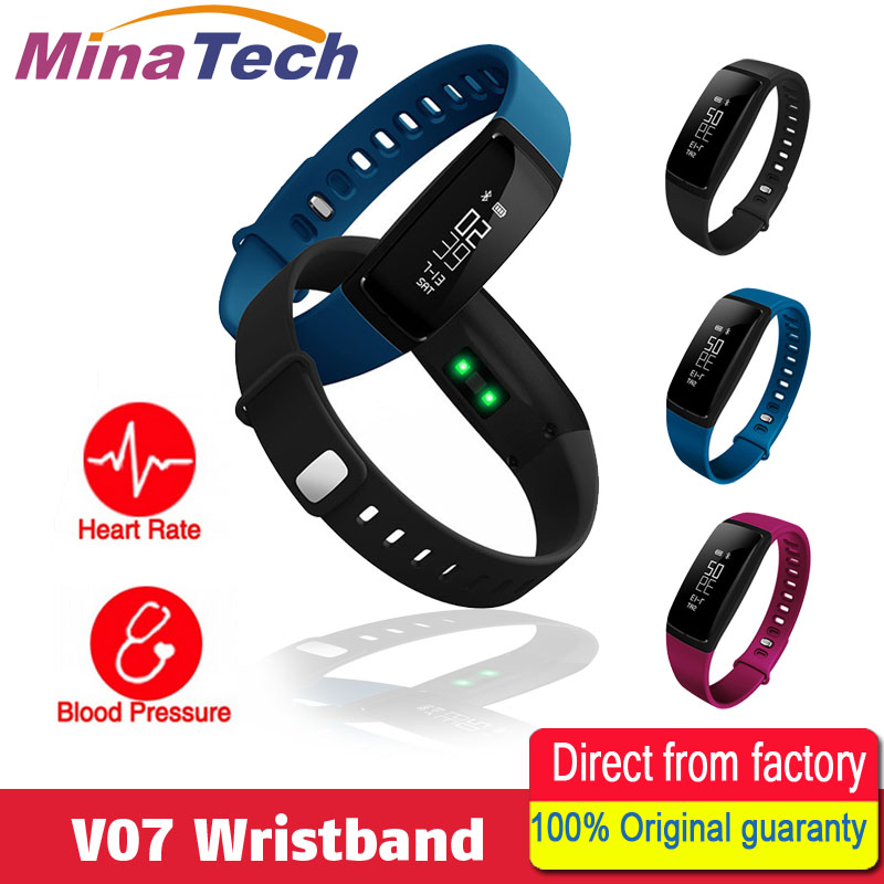 Blood Pressure Smart Wristband V07 Pedometer Smart Bracelet Heart Rate Monitor Smart band Bluetooth Fitness For Android IOS jimate g16 pedometer smart wristband bluetooth smartband heart rate monitor blood pressure bracelet color screen for ios android