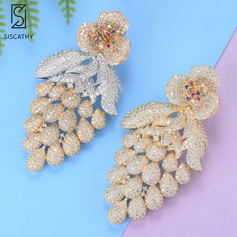 40*75 mm Trendy Blossom Drop Shape Dubai Women Wedding Dangle Earrings Cubic Zirconia Inlaid Drop Earrings boucle d'oreille цена