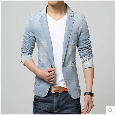 2019 nouveauté bleu ciel blazer hommes Jeans Blazer hommes Denim Slim Fit Blazer homme printemps décontracté veste 031504