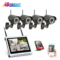 ANRAN P2P 12 Inch LCD 4CH Wireless NVR Kit Security CCTV System 720P HD IR Outdoor