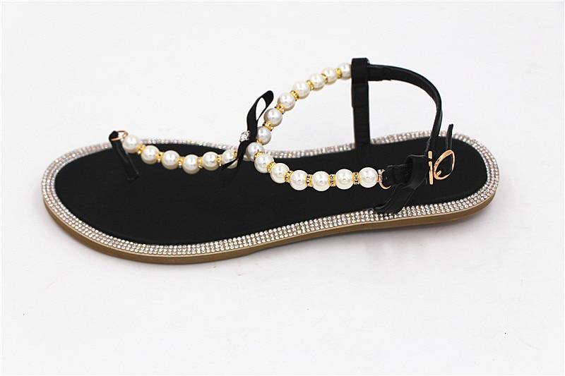 79d0d5b613ba8f Brand women s sandals 2017 summer beaded stone pearl female sandals ...