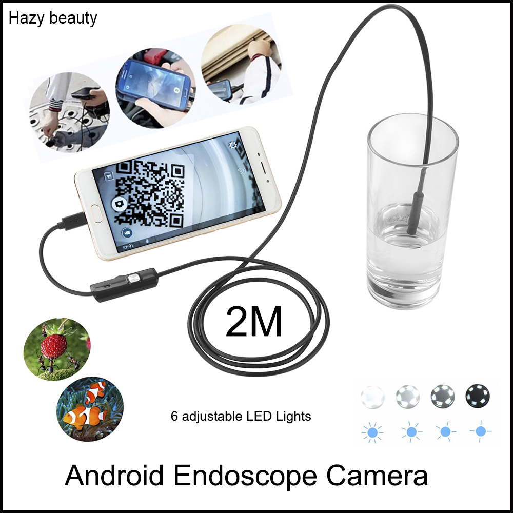 Hazy beauty 2M Cable USB Android Endoscope Camera 8mm Lens Flexible Snake Camera HD 720P Borecope Pipe Inspection Camera 2017 new 8led 7m hard flexible snake usb wifi android ios iphone endoscope camera iphone borecope pipe inspection hd720p camera