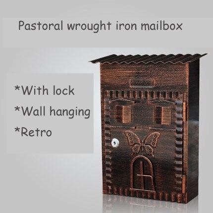 Retro villa garden letter box with lock wall outdoor creative mailbox home mail box Galvanized sheet