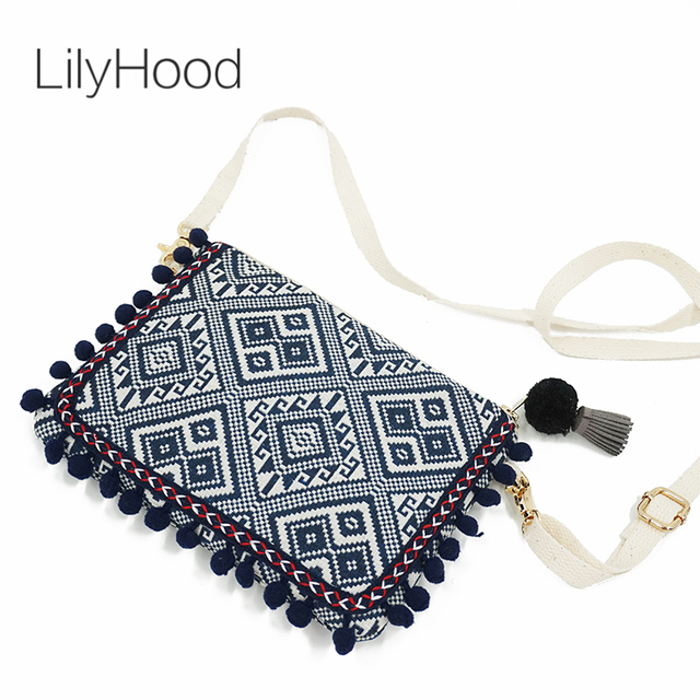 LilyHood Clutch Shoulder Bag Women Boho Chic Bohemian Gypsy Aztec Ibiza Tribal Cotton Pom Pom Cute Small Flap Bag Zipper Purse