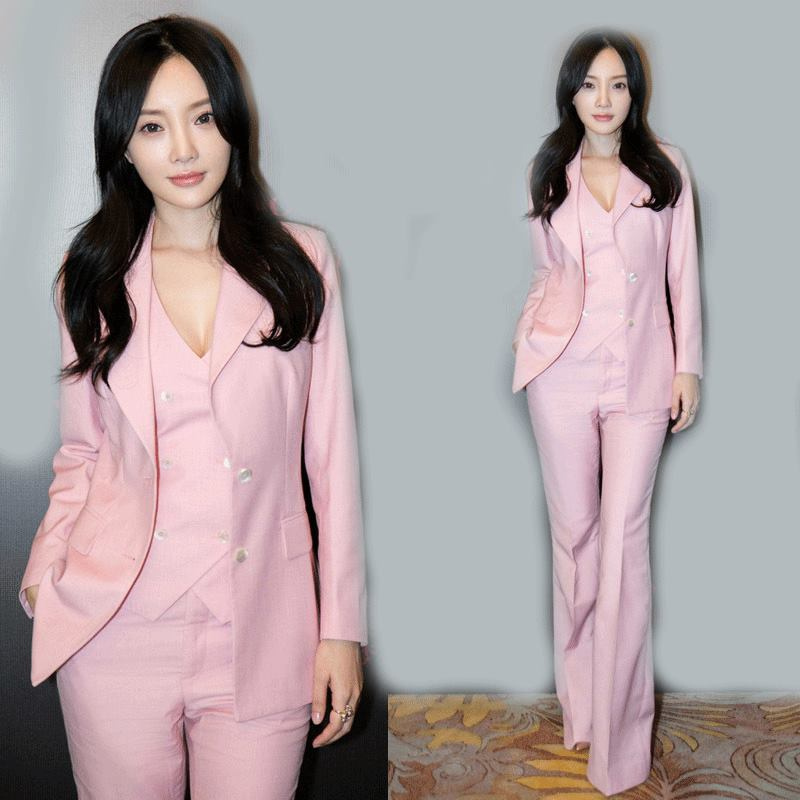 2018 High quality OL England new pink Slim small suit jacket was thin long bell pants fashion leisure three-piece AL18303